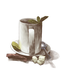 tea Cup with mint leaves on a saucer with a teaspoon next to a tea bag