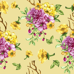 Seamless floral bouquet pattern with Flower pink and yellow