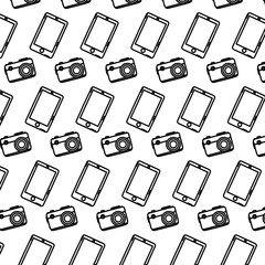 line smartphone technology and camera equipment background