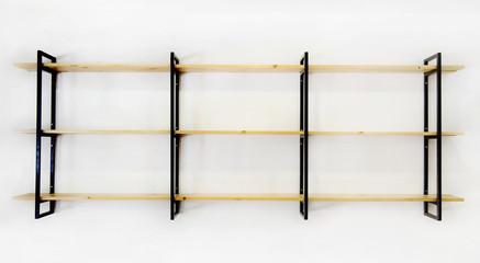 Fototapeta Industrial blank wooden & steel iron shelf decorated on  white wall room. Modern furniture design. obraz