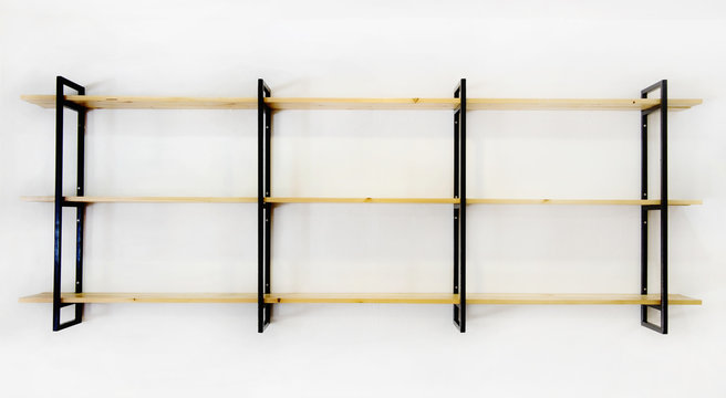 Industrial blank wooden & steel iron shelf decorated on  white wall room. Modern furniture design.