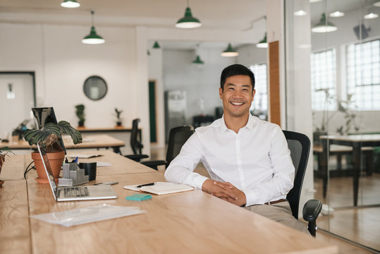 Smiling Asian businessman working at his desk in an office