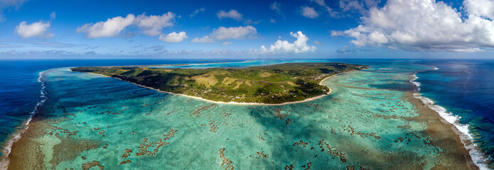 Polynesia Cook Island aitutaki lagoon tropical paradise aerial view Wall mural