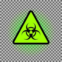 Biohazard dangeer vector symbol with green glowing.