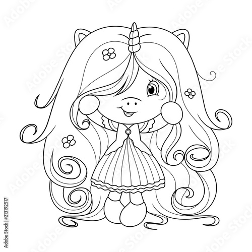 Cute baby unicorn with super long hair with flowers ...