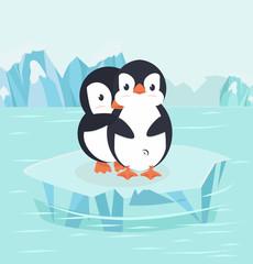 Penguin Hug in North pole Arctic