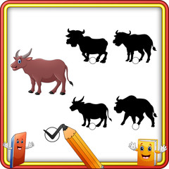 Find the correct shadow buffalo animal. Education Game for Children