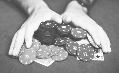 People gambling with all money on table