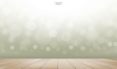 Wooden deck or wooden terrace with light blurred bokeh background used for montage or display product. Outdoor background with perspective wood pattern and texture. Vector.