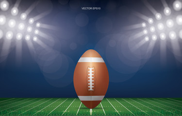 Football ball on football field stadium background. With perspective line pattern of american football field. Vector.