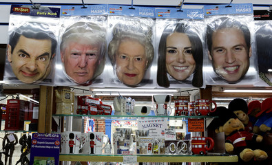 Tourist souvenir masks portraying U.S. President Donald Trump, members of Britain's royal family and actor Rowan Atkinson, are displayed in a tourist shop, during the visit by Trump and First Lady Melania Trump in London
