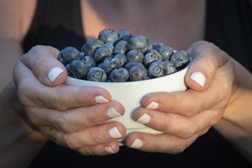 A Hand Holding a Bowl of Fresh Delicious Blueberries