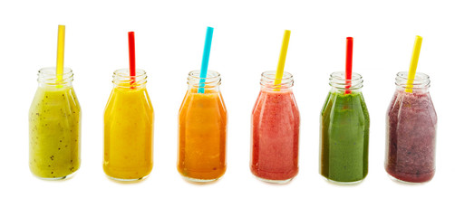 Assorted fresh fruit and vegetable smoothies