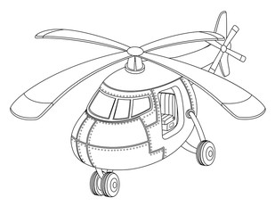 Beautiful coloring book for children with a helicopter on a white background.