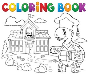 Coloring book turtle teacher theme 2