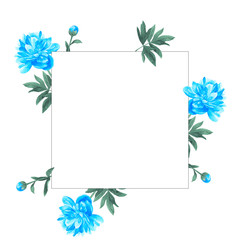 Square floral frame. Blue peony. Watercolor hand drawn illustration
