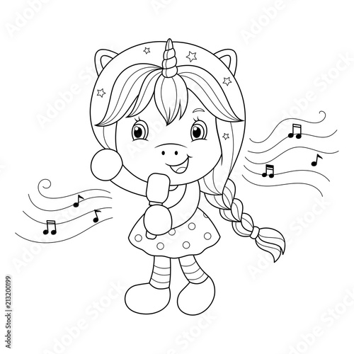 Singing unicorn girl with microphone. Coloring page for ...