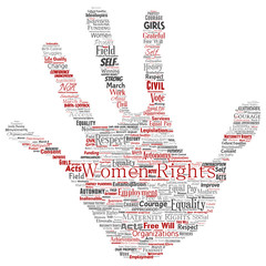 Vector conceptual women rights, equality, free-will hand print stamp word cloud isolated background. Collage of feminism, empowerment, opportunities, awareness, courage, education, respect concept