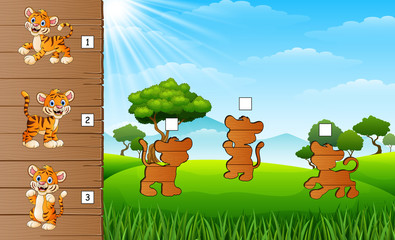 Cartoon happy baby tiger. Find the correct shadow. Educational game for children