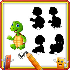 Find the correct shadow. Cartoon funny turtle sitting and waving. Education Game for Children