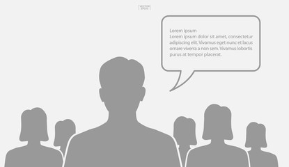 People talking with bubble sign area for copy space. Human thinking with empty chat and idea bubble. Vector.