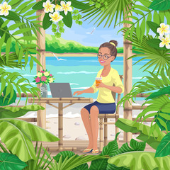 Girl  with Laptop  at Tropical Coast