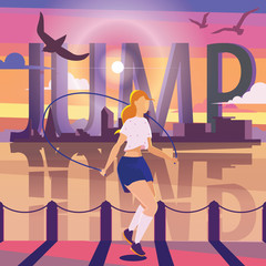 Young woman jumping with rope on pier. Colorful sport illustration with large word JUMP, city silhouette and water.