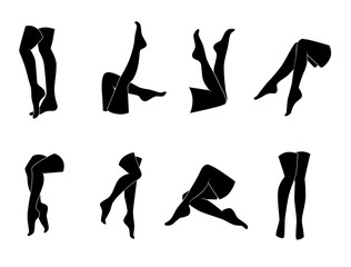 Woman legs vector icon set.