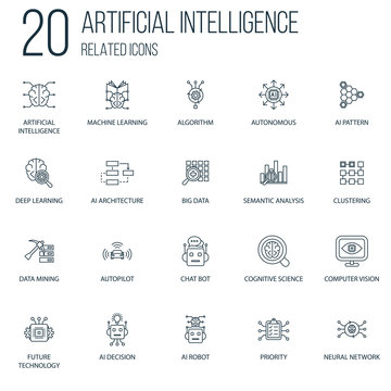 Set of 20 Artificial Intelligence Related line Icons