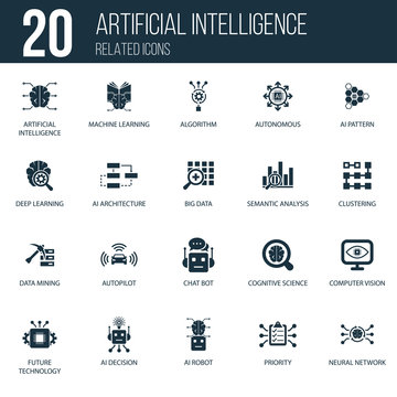 Simple Set of 20 Artificial Intelligence Related Icons