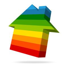 Rainbow Energy House Icon Bars