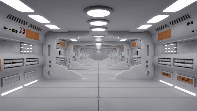3d Render. Futuristic interior design for movie or background