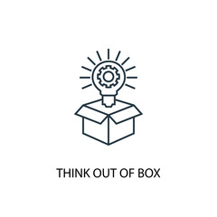 Think out of box concept line icon. Simple element illustration