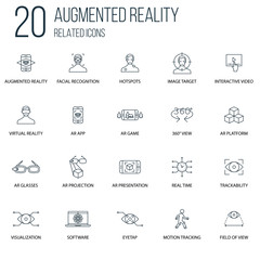 Set of 20 Augmented reality Related line Icons