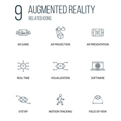 Set of 9 Augmented reality Related line Icons