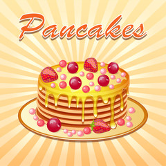 Illustration background of pancakes with honey and cherry strawb