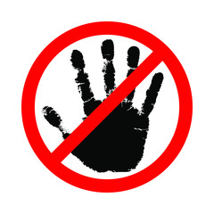 Sign hand blocking. Icon stop hand. Symbol do not touch. Vector flat style illustration isolated on white background
