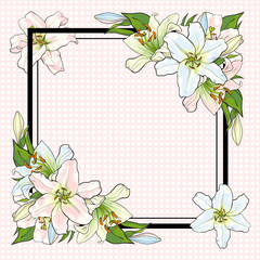 White lilies bouquet elements in sketch style at corners of square shape with copy space - vector illustration of pastel colored blooms with green leaves for greeting card or invitation.
