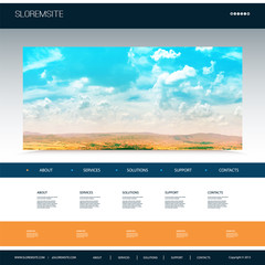 Website Design Template for Your Business with Natural Image Background - Riverside, Trees, Cloudy Sky.