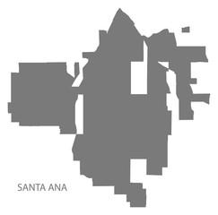 Santa Ana California city map grey illustration silhouette shape