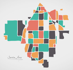 Santa Ana California Map with neighborhoods and modern round shapes