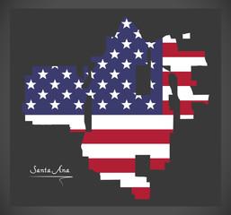Santa Ana California map with American national flag illustration