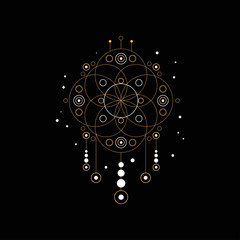 Dream trap, religion, shamanism, spirituality ethnic symbol, design element for fashion print, label, poster vector Illustration on a black background