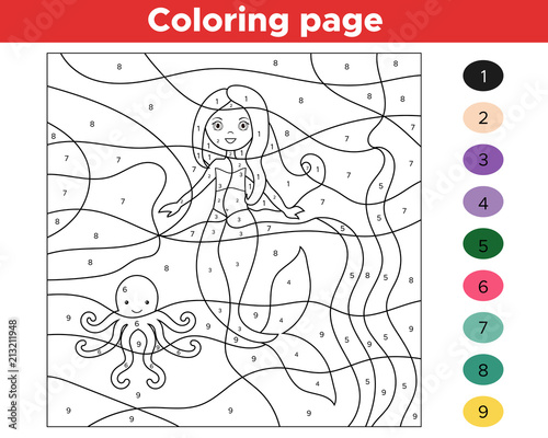 graphic relating to Printable Color by Number identify Insightful recreation for children. Colour via quantities. Cartoon mermaid