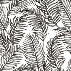 Wall Murals Botanical Tropic plants floral seamless jungle pattern. Print vector background of fashion summer wallpaper palm leaves in black and white gray style
