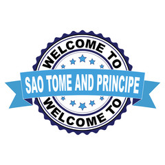 Welcome to Sao Tome and Principe blue black rubber stamp illustration vector on white background