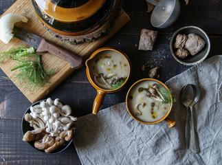 Served in bowls tasty mushroom cream