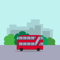 English red double-decker bus side view flat style