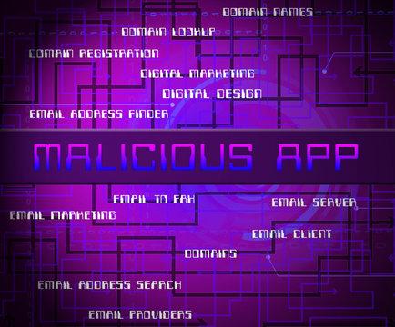 Malicious App Spyware Threat Warning 2d Illustration