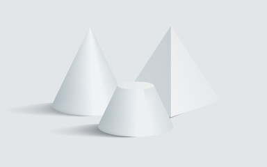 Blunted Cone Pentagonal Prism 3D Geometric Shapes